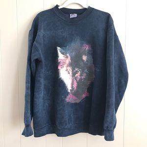 VTG Wolf Face Comfy Sweatshirt Retro Medium USA